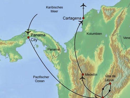 Route Panama und Kolumbien